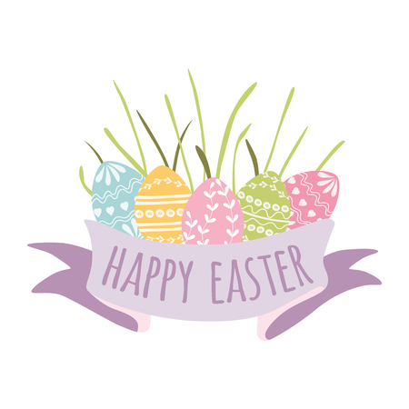 Colorful Happy Easter greeting card hand drawn eggs green grass vector banner spring print logo