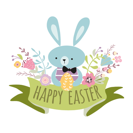 Colorful Happy Easter greeting card with flowers eggs and rabbit Bunny vector banner spring