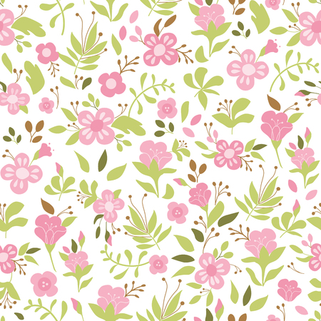 Cute floral seamless pattern with tiny pink flower. Wild flowers vector illustration. Elegant template for fashion prints wallpaper background endless texture wrap cover package botany design