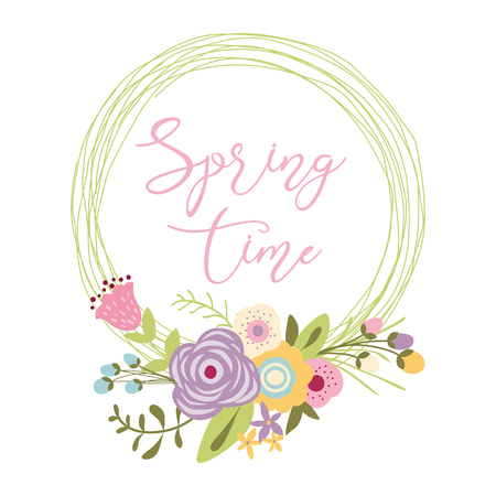 Inspiration spring quote Spring the season of love into gentle hand drawn floral wreath on pink Vector illustration Wreath of flowers with text Card template Design element Cute decorative print. Reklamní fotografie - 127715361