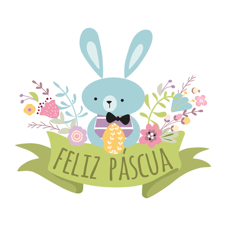 Colorful Happy Easter greeting card with flowers eggs rabbit Bunny Cute spring banner with ribbon make in childish style Green pink yellow colors Vector illustration Invitation Inscription in Spanish.