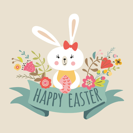 Vector Happy Easter templates with eggs, flowers, floral frames ribbon, rabbit Bunny and typographic design quote. Good for spring and Easter greeting cards, banners, invitations. Vector illustration
