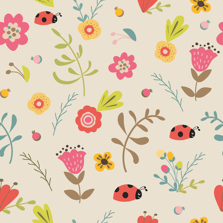 Floral seamless pattern hand drawn summer spring pastel background Vector illustration Tulips ladybug meadow flower Cute kids garden design for wallpaper Repeated decorative template Forest.