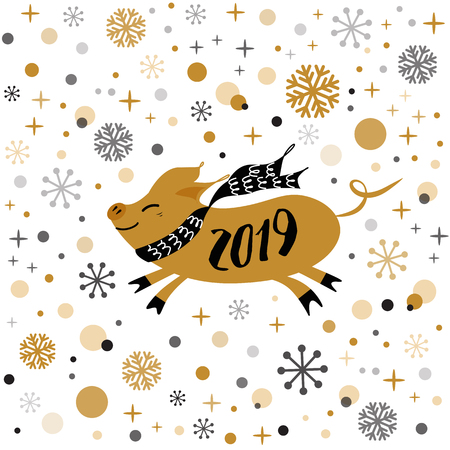 Merry Christmas Pig banner 2019 Cute golden pig, gold snowflakes stars banner on white New Year design template for print sign postcard booklet leaflets poster banner invitation Vector illustration Ilustração