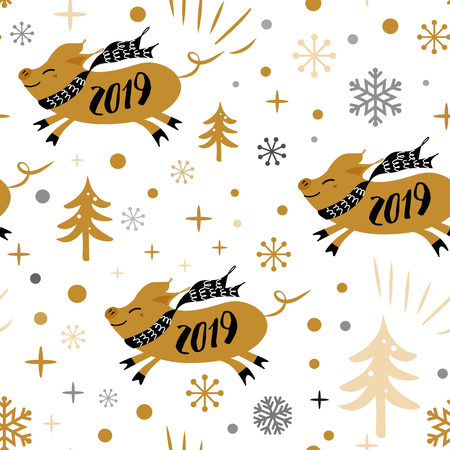 Seamless Christmas pattern with cute cartoon Christmas pig 2019 snowflakes gold black colors Vector illustration Cute New year backround wallpaper wrap cover