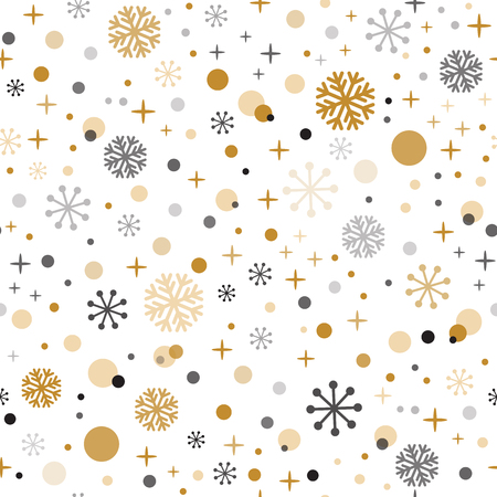 Decorative Christmas time vector seamless pattern with gild black grey snpwflakes Winter background Vector snowy ornate for New Year and Christmas decoration. Wallpaper illustration or package design Ilustração