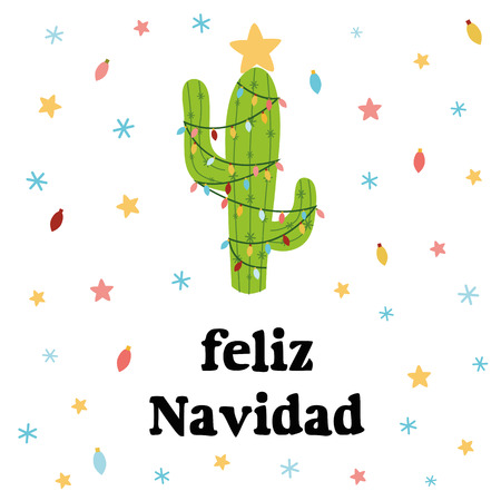 Merry Christmas banner. Happy cactus in a Christmas garland snowflakes stars Cute vector greeting card, print, label, poster, sign. Title in Spanish. Vector illustration. Hand drawn mexico design