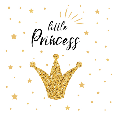 Vector illustration of Little Princess text for girls clothes decorated glittering gold crown golden stars Royal badge card postcard tag icon Inspirational quote banner. Lettering typography, poster. Ilustração