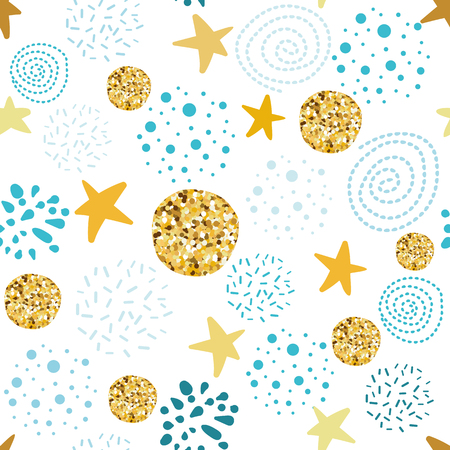 Vector seamless abstract pattern polka dot stars ornament Glitter golden blue hand drawn elements Christmas Boy baby shower 일러스트