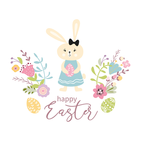 Colorful Happy Easter greeting card with flowers eggs rabbit Bunny Cute spring banner with ribbon make in childish style Green pink yellow colors Vector illustration Invitation congratulation banner.