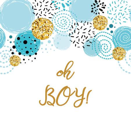 Frase Oh chico lindo bebé ducha borde decorado azul oro brillo elementos redondos Invitación de Birthdauy. Ilustración vectorial. Diseño masculino negro azul dorado para tarjetas, pancartas, etiquetas, logotipo de impresión de fondo.