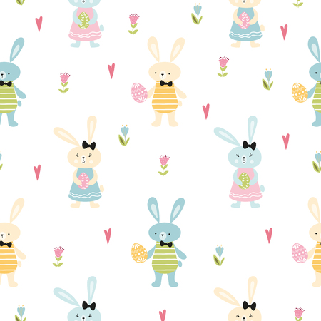 Happy Easter cute hand drawn seamless pattern Rabbits Bunny hugging easter eggs decorated spring flowers branches on white Vector illustration Spring Easter repeated background print Kids style.