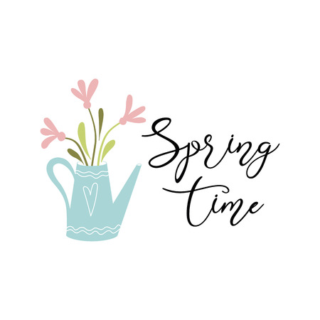 Typography quote spring Vector text Spring time decorated hand drawn watering can flowers Illustration