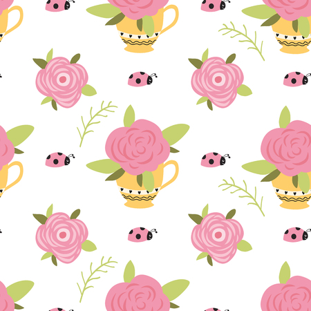 Vector flower pattern, seamless botanic texture, detailed flowers illustrations. Roses into cup, pot Funny ladybug background Doodle style, spring floral background Cute color wallpaper printable