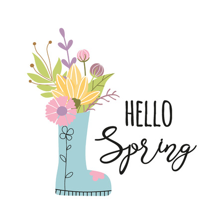 Hello Spring phrase decorated flower bouquet in boots Vector inspirational phrase Illustration