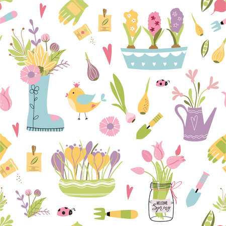 Garden tool seamless pattern. Vector illustration of spring gardening elements. Happy gardening fabric design.