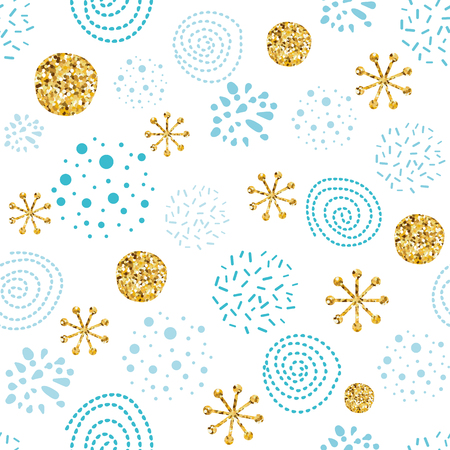 Chistmas seamless pattern with glitter golden snowflakes snowballs New Year background in gold blue colors make from hand drawn circle elements Vector illustration for winter wallpaper gifts paper.