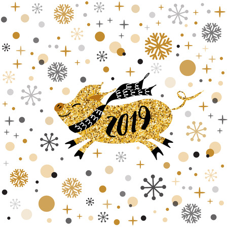Merry Christmas and Happy New Year 2019 golden pig, gold snowflakes stars banner on white New Year design template with yellow pig for Chinese calendar Cute sign postcard poster Vector illustration Reklamní fotografie - 127259722