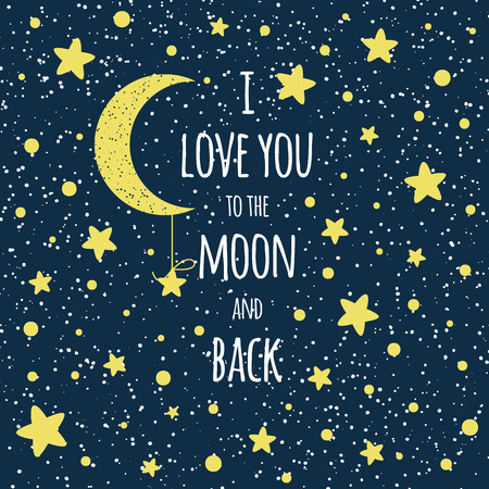 Text I love you to the moon and back. St Valentines day inspirational quote yellow moon sky full of stars Stock Vector - 116736867