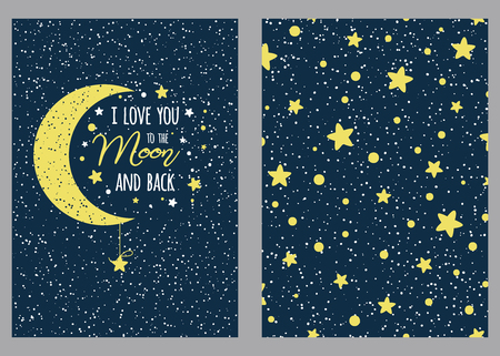 Set of cute love hand drawn greeting cards with lettering calligraphy text I love you to the moon and back. Cosmos background Illustrations, poster, banner, wedding design templates St Valentines day. Illustration