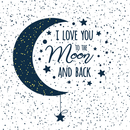 Vector text I love you to the moon and back. St Valentines day inspirational quote darl blue moon sky full of stars