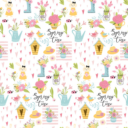 Seamless spring pattern hand drawn cute elements vector illustration with bunny rabbit eggs spring flowers bird on white Stok Fotoğraf