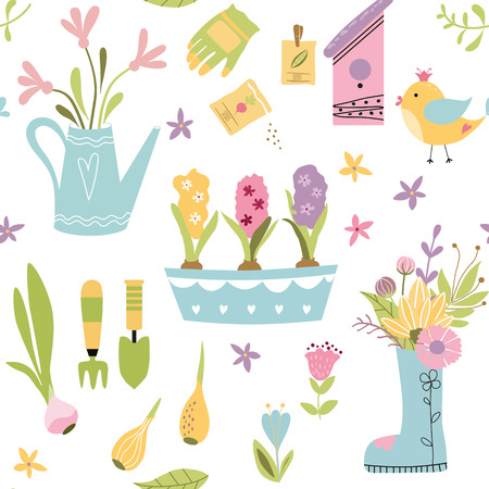 Gardening seamless pattern with cute hand drawn element garden tools Spring background Vector illustration Repeated wallpaper printable textile design Seeds tulip bulb flower bouquet hyacinths in pot. Ilustração