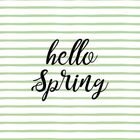 Hello spring design on green striped backround Fresh vector banner Illustration