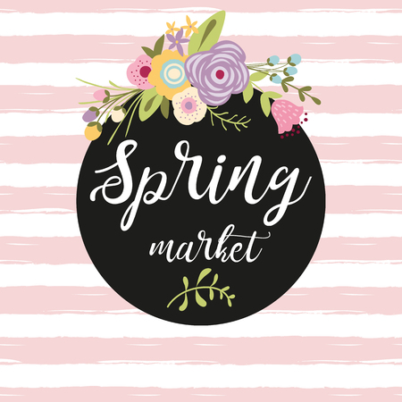 Flower composition with the text in a black circle shape Spring Market Advertising banner
