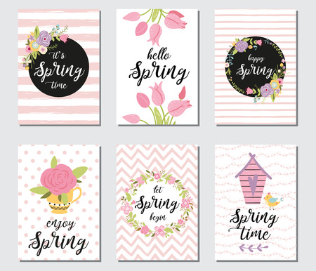 Spring card set with spring quotes, calligraphy, flowers, wreath. Vector banner templates. Illustration