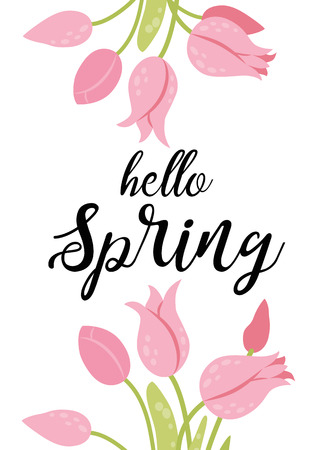 Hello spring banner with pink blooming tulip flower on white background vector illustration. Floral decorated spring design for holiday, seasonal romantic celebration, nature feast congratulation. Reklamní fotografie - 126998957