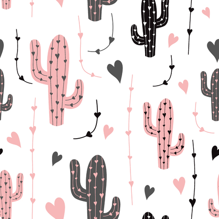 Cactus. Seamless pattern vector background. Vector. Black pink cactus on white background. Fabric print cloth design Mexican ethnic classical embroidery succulent cactus latin america background. Ilustração