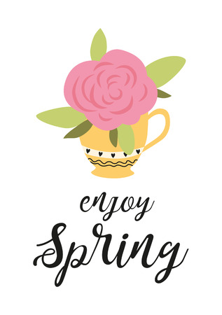 Hello spring banner with pink blooming rose in yellow cup on white background vector illustration. Floral decorated spring design for holiday seasonal romantic celebration nature feast congratulation.