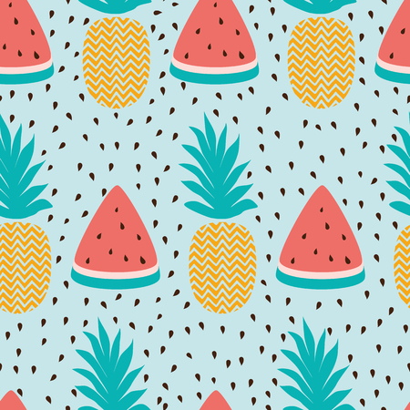 Seamless wallpaper pattern with watermelon slices pineapple summer fresh fruit design. Vector illustration Hand drawn summer background, wrap, wallpaper, cover, fabric, cloth, textile design. Swatch.