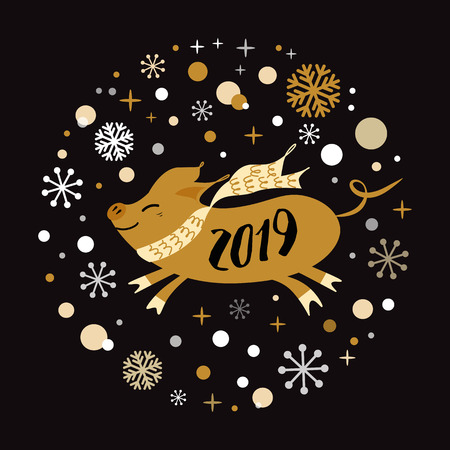 Merry Christmas and Happy New Year 2019 golden pig, gold snowflakes stars banner on black New Year design template for print sign postcard booklet leaflets poster banner invitation Vector illustration Reklamní fotografie - 126852313