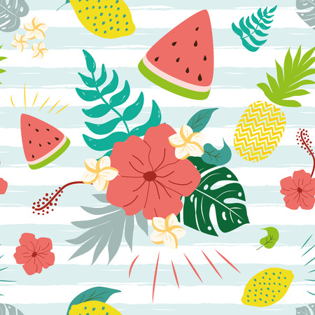 Flowers paradise pattern Vector seamless jungle flowers plants fruits watermelon pineapple monstera hibiscus on striped bluw wjhite background Tropical banner Summer textile cloth design Illustration.