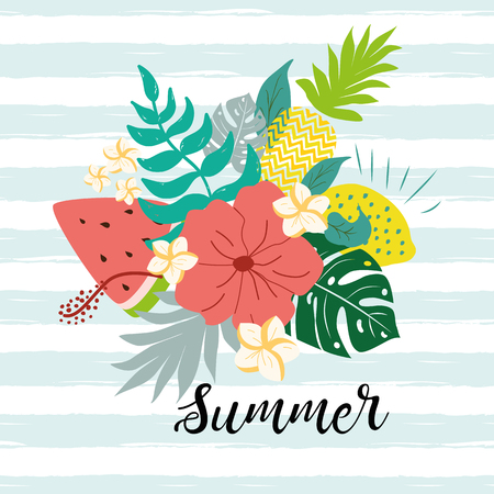 Summer poster with watermelon, monstera tropical leaves hibiscus text cute hand drawn banner