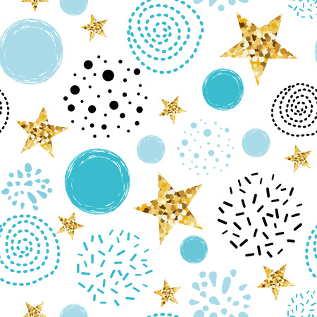 Doodle star seamless pattern background Blue gold star Abstract gold glitter star seamless texture simple black circles card poster book fabric wrapping paper Gold glitter texture Vector illustration.