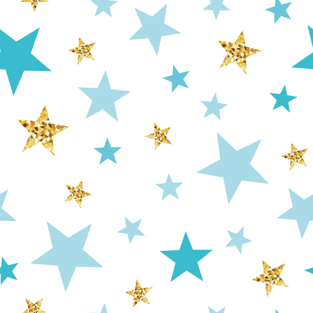 Doodle star seamless pattern background Blue and gold star. Abstract gold glitter stars seamless texture card poster album book fabric t shirt wrapping paper Gold glitter texture Vector illustration. Illustration