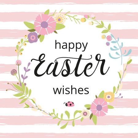 Easter wreath with hand drawn spring flowers on pink striped background. Decorative doodle floral frame Typography quote Happy Easter Wishes on white circle shape Greeting card Vector illustration.