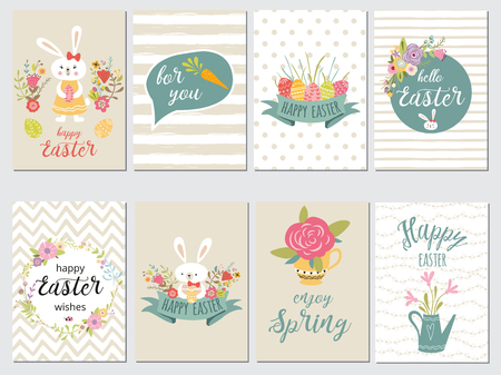 Set of Happy Easter card templates with eggs, flowers, floral frames wreaths ribbon rabbit and typographic design. Good for spring Easter greeting banners invitations backgrounds pastel colors.