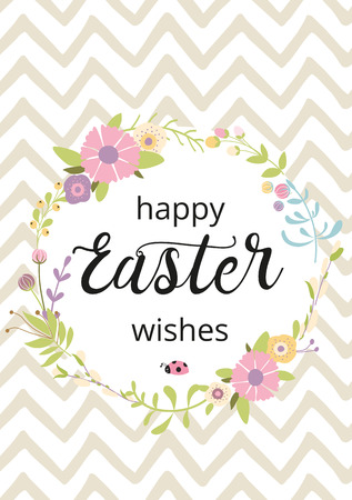 Easter typography quote Happy Easter Wishes hand drawn lettering with colorful spring flower cute funny bunny rabbit Seasons greetings card perfect for prints flyers banners holiday invitations patel colors. Reklamní fotografie - 126807580