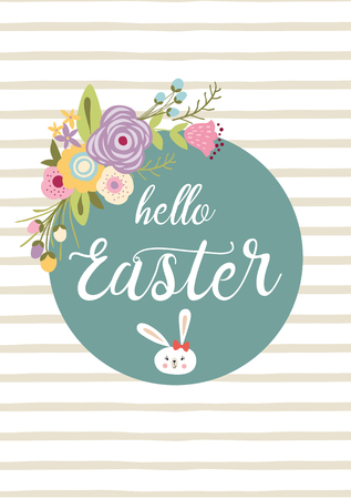 Easter typography quote Hello Easter hand drawn lettering with colorful spring flower cute funny bunny rabbit Seasons greetings card perfect for prints flyers banners holiday invitations patel colors.