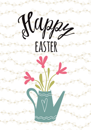 Easter typography quote Happy Easter hand drawn lettering with pink spring flower on watering can pot Seasons greetings card perfect for prints flyers banners holiday invitations patel colors.