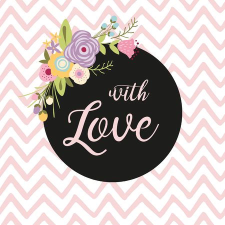 Flower composition with the text with Love in a circle. Romantic pink striped background Botanical illustration meadow flowers St Valentines day wedding date Hand drawn flowers for printing banner.
