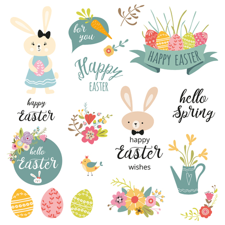 Set of cute Easter cartoon rabbits flowers eggs typography spring quote design elements Foto de archivo - 116736947