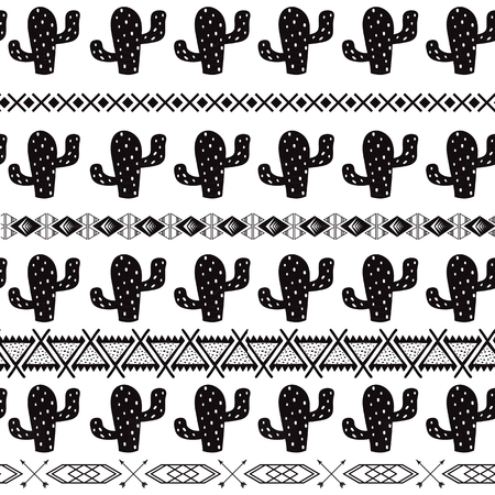 Black and white seamless cactus tribal ethnic pattern Aztec abstract background Mexican ornamental texture vector