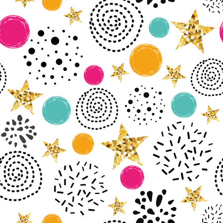 Doodle shape seamless pattern background Blue gold star Abstract gold glitter star seamless texture simple black circle card poster book fabric wrapping paper Gold glitter texture Vector illustration.