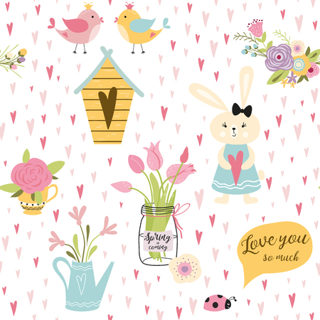 Lovely rabbits in hearts flowers. Cute childish seamless pattern in cartoon style. Seamless pattern can be used for wallpapers pattern fills web page backgrounds surface textures Vector illustration.