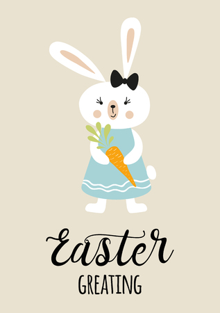 Easter typography quote Easter Greating decorated funny rabbit bunny in pastel colors
